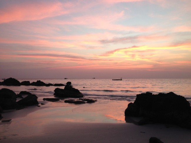 Koh Rong Long Beach sunset