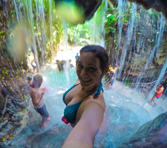 Playing in waterfalls in the Philippines