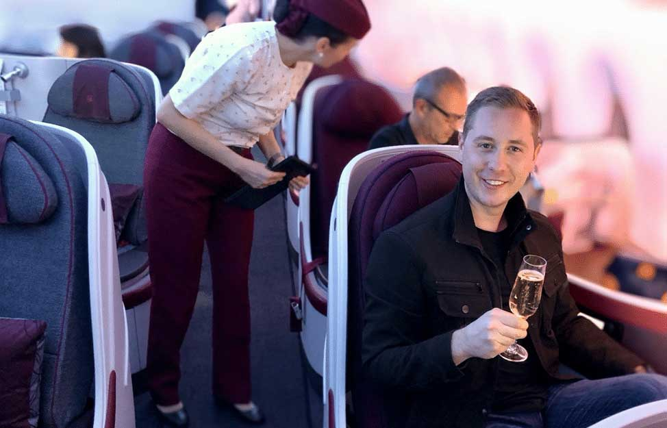 Mike enjoying business class on a 21-hour Qatar Airways flight (I'm jealous)